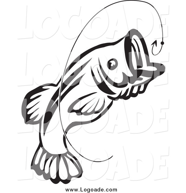 Clipart of a Black and White Jumping Fish and Hook Logo