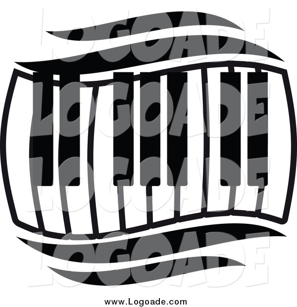 Clipart of a Black and White Keyboard Wave Logo