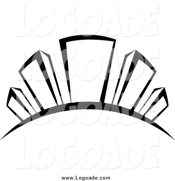 Clipart of a Black and White Skyscraper Hill Logo