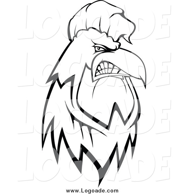 Clipart of a Black and White Tough Rooster Logo