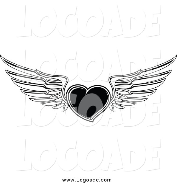 Clipart of a Black and White Winged Flying Heart