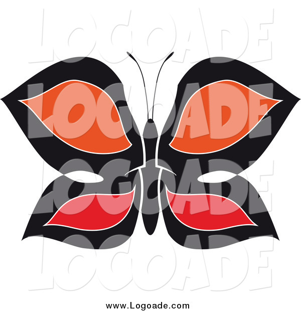 Clipart of a Black, Red and Orange Butterfly Logo