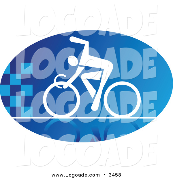 Clipart of a Blue and White Cyclist Logo