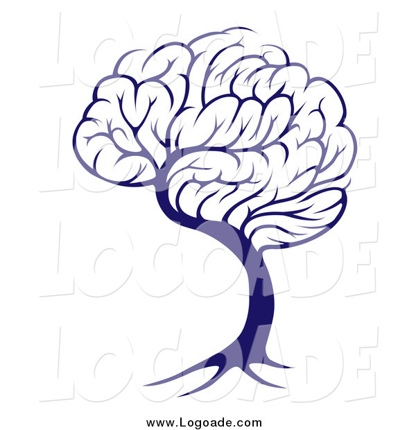 Clipart of a Blue Brain Tree Knowledge Logo