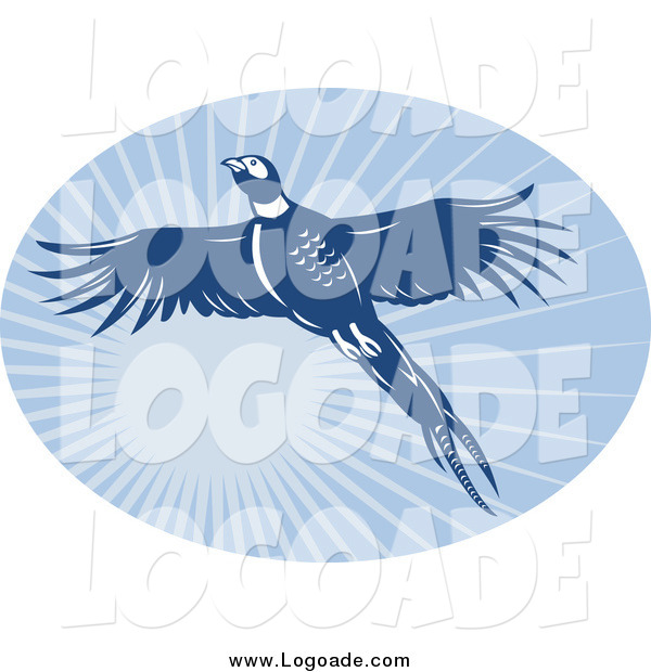 Clipart of a Blue Flying Pheasant and Sunshine Oval Logo