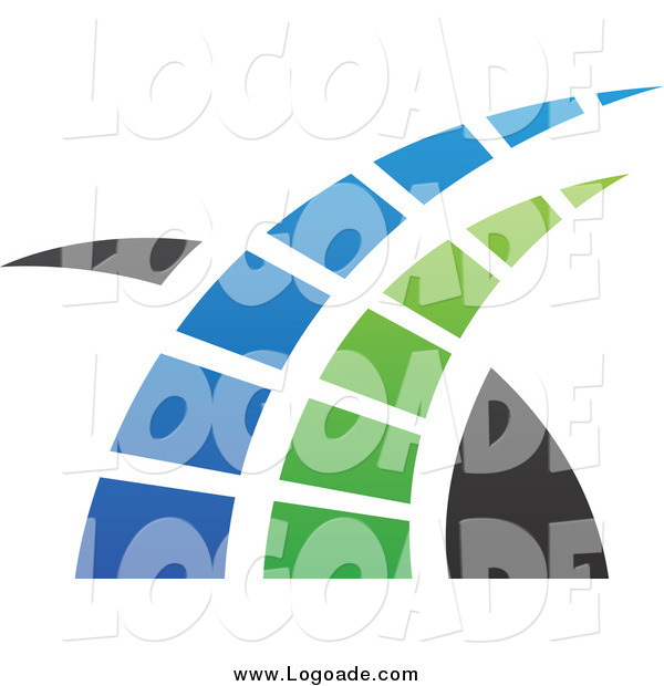 Clipart of a Blue, Green and Black Swoosh Logo