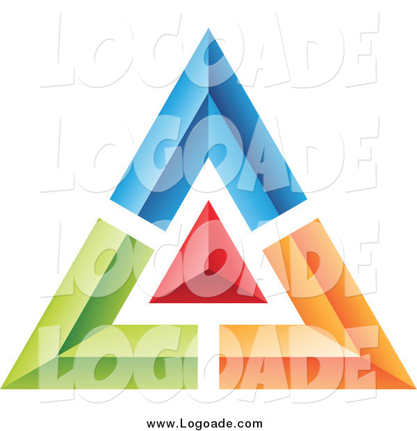 Clipart of a Blue, Green, Red and Orange Pyramid or Triangle Logo