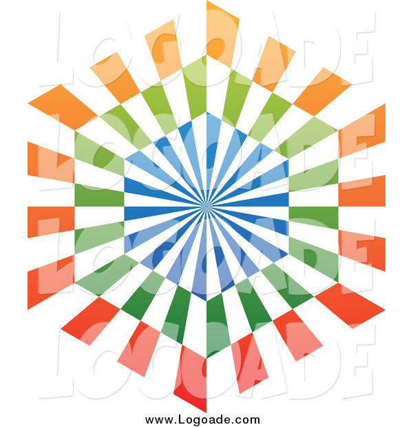Clipart of a Blue, Orange and Green Ray Hexagon Logo