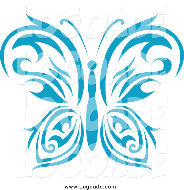 Clipart of a Blue Tribal Butterfly Logo