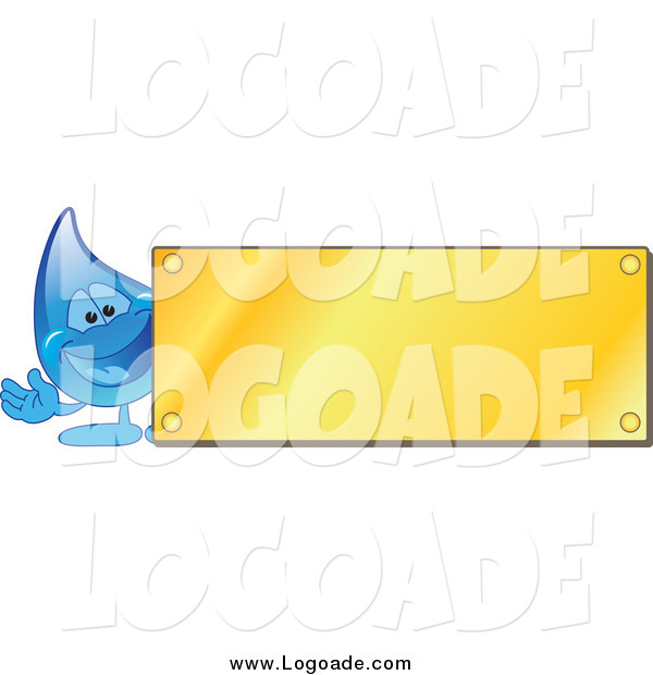 Clipart of a Blue Water Droplet Waving by a Blank Gold Plaque Utility Logo