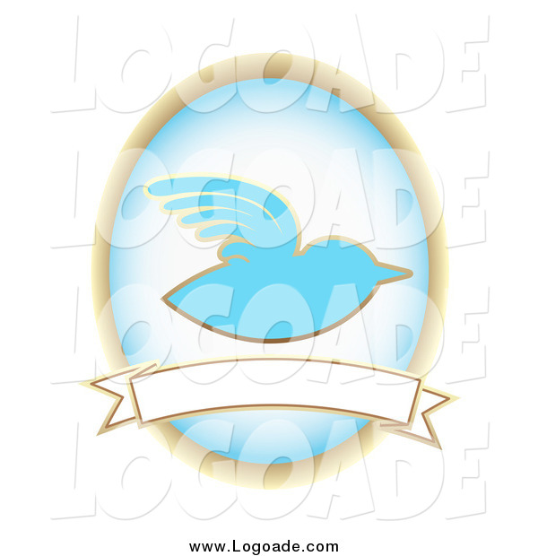 Clipart of a BlueBird and Oval over a Blank Banner