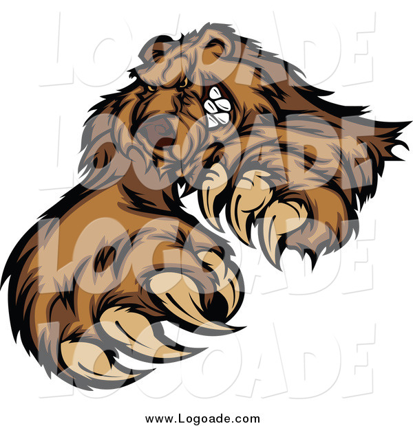 Clipart of a Clawing Brown Bear Logo