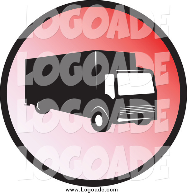 Clipart of a Delivery Truck on a Red Circle Logo