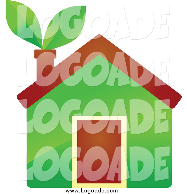 Clipart of a Eco Home with Leaves in the Chimney