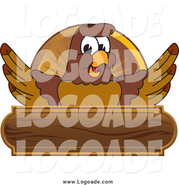 Clipart of a Falcon and Wooden Plaque Logo