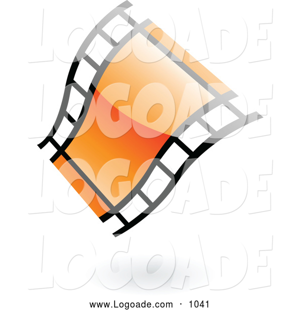 Clipart of a Floating Wavy Orange Glossy Film Strip Logo