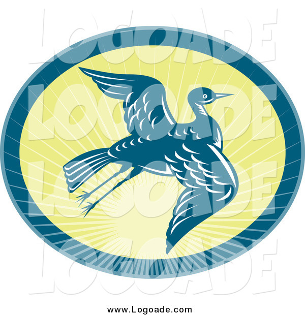 Clipart of a Flying Heron and Sunshine Logo
