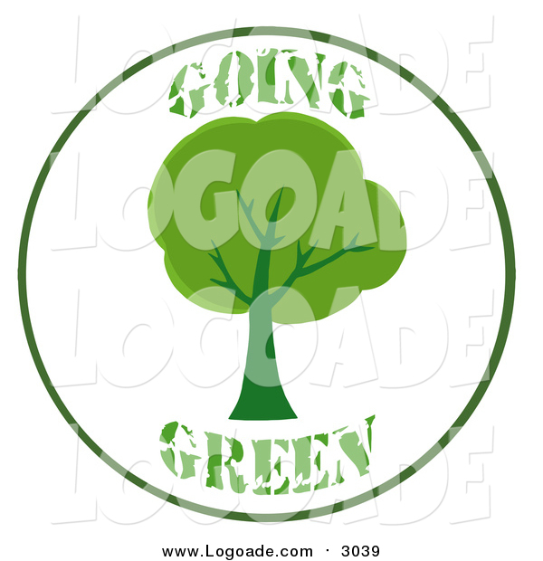 Clipart of a Going Green Tree Logo
