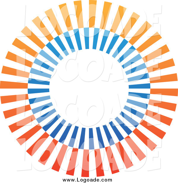 Clipart of a Gradient Orange and Blu Circle Logo