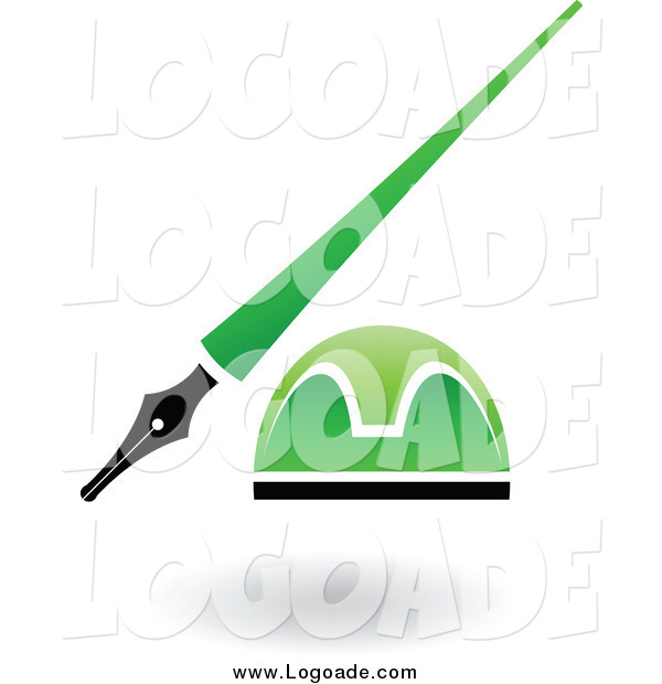 Clipart of a Green and Black Pen and Ink Well Logo