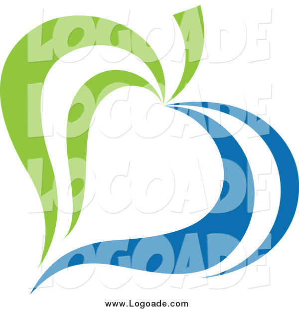 Clipart of a Green and Blue Ecology Leaf Logo