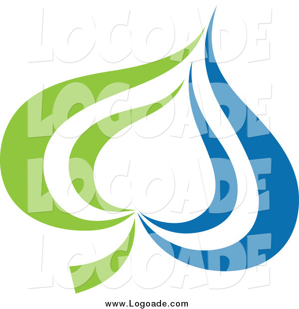 Clipart of a Green and Blue Leaf Logo