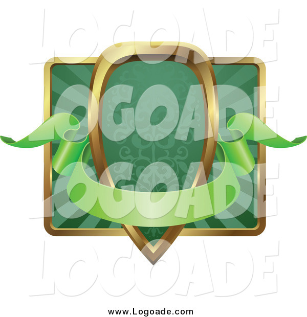 Clipart of a Green and Gold Banner Shield Frame with Copyspace
