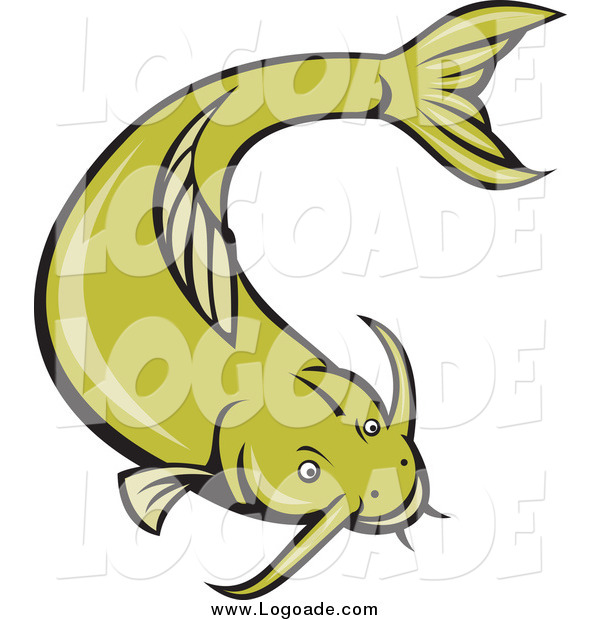 Clipart of a Green Catfish Swimming Logo