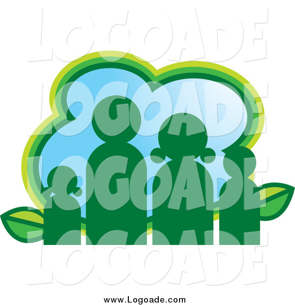 Clipart of a Green Eco Family Logo