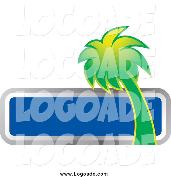Clipart of a Green Palm Tree and Blank Blue Box Travel Logo