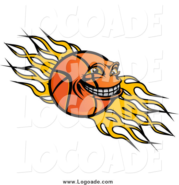 Clipart of a Grinning Basketball Character over Yellow Flames Sports Logo