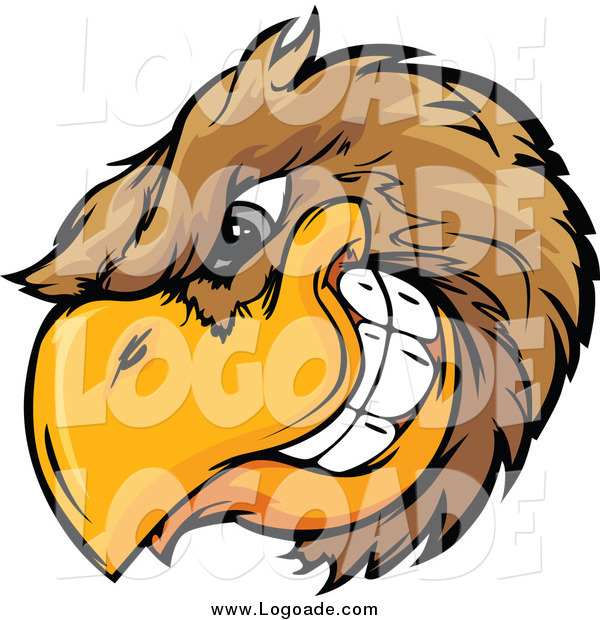 Clipart of a Grinning Brown Bird Head Logo