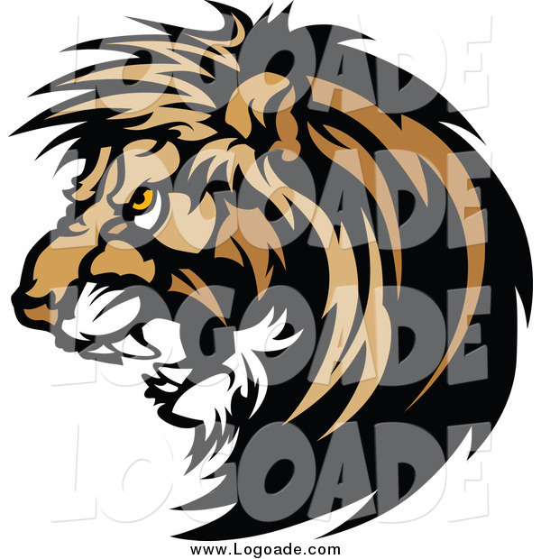 Clipart of a Growling Male Lion Logo