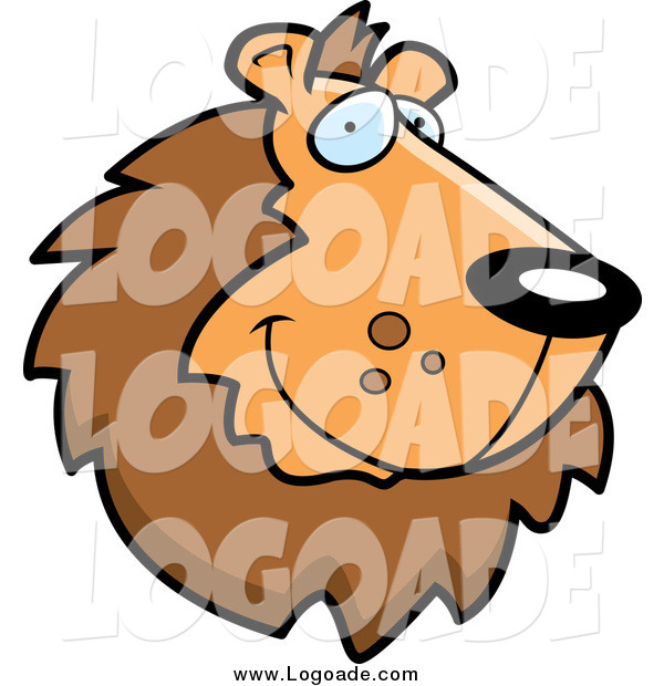 Clipart of a Handsome Smiling Lion Face Logo