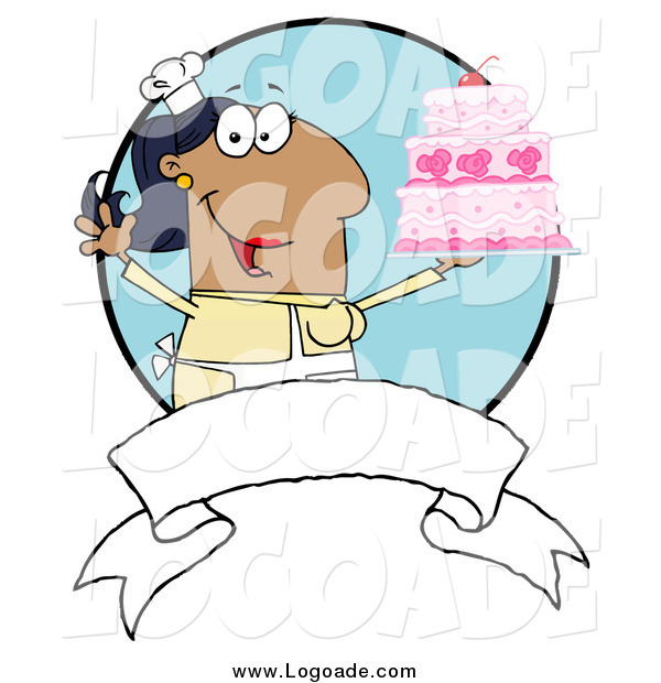 Clipart of a Hispanic Chef Woman Holding up a Cake over a Blank Banner and Blue Circle