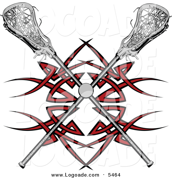Clipart of a Lacrosse Ball and Crossed Sticks over a Red Tribal Design
