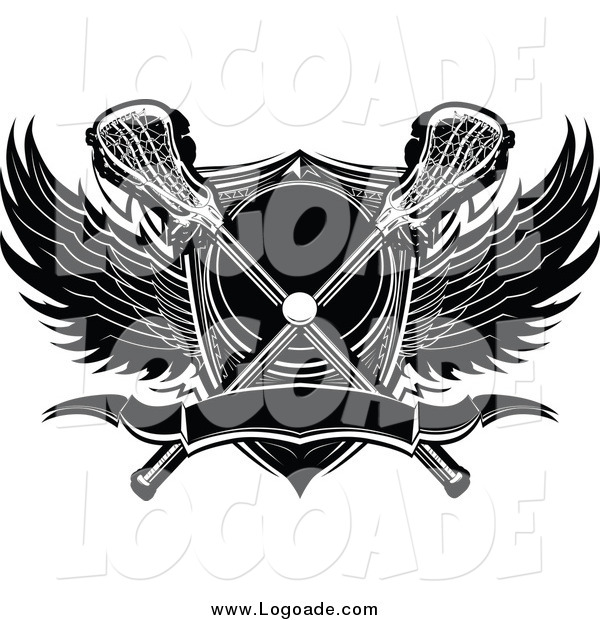 Clipart of a Lacrosse Ball with Crossed Sticks a Shield and Black and White Wings