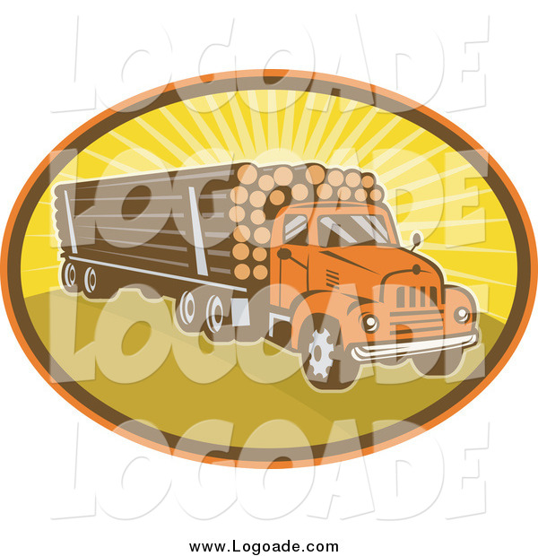 Clipart of a Logging Truck and Sunshine Logo