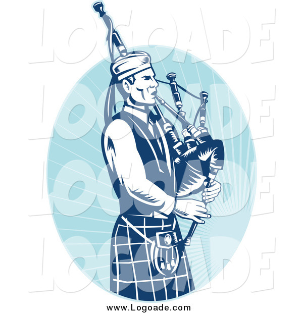 Clipart of a Logo Blue Bagpipe Player and Oval