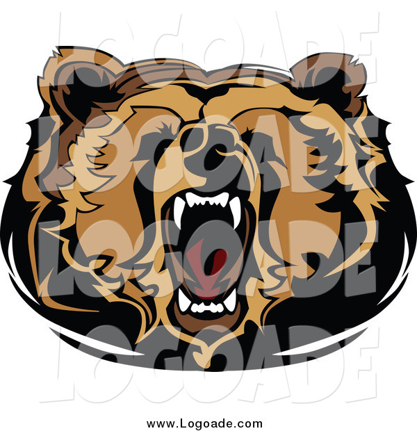 Clipart of a Logo of a Roaring Bear Head