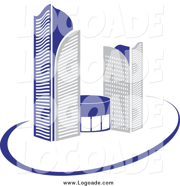 Clipart of a Logo of Gray and Blue Skyscraper Buildings and a Swoosh