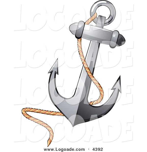 Clipart of a Nautical Anchor and Rope Logo
