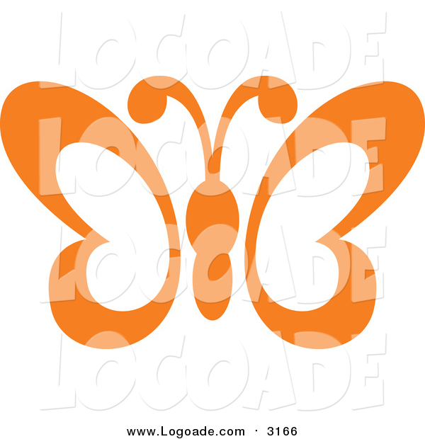 Clipart of a Orange Butterfly Flying Logo
