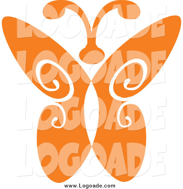 Clipart of a Orange Butterfly Logo