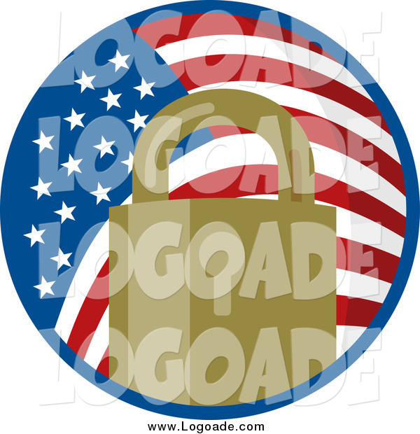Clipart of a Padlock in an American Flag Circle