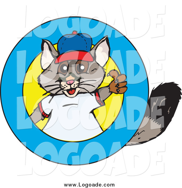 Clipart of a Possum Holding a Thumb up in a Ring Logo