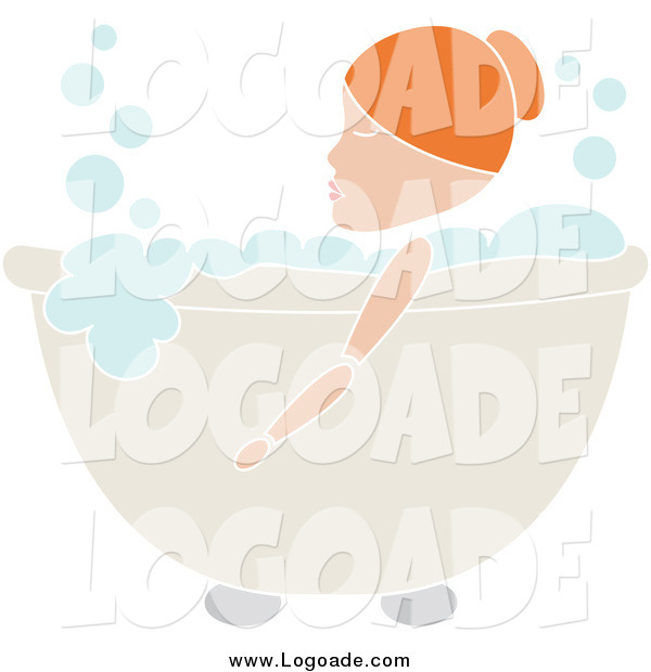 Clipart of a Red Haired Woman Soaking in a Bubble Bath Logo