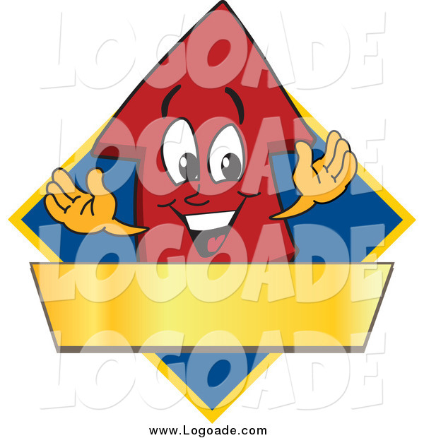 Clipart of a Red up Arrow and a Blank Gold Banner on a Blue Diamond