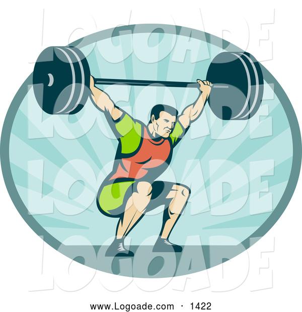 Clipart of a Retro Bodybuilder Squatting with a Barbell Logo