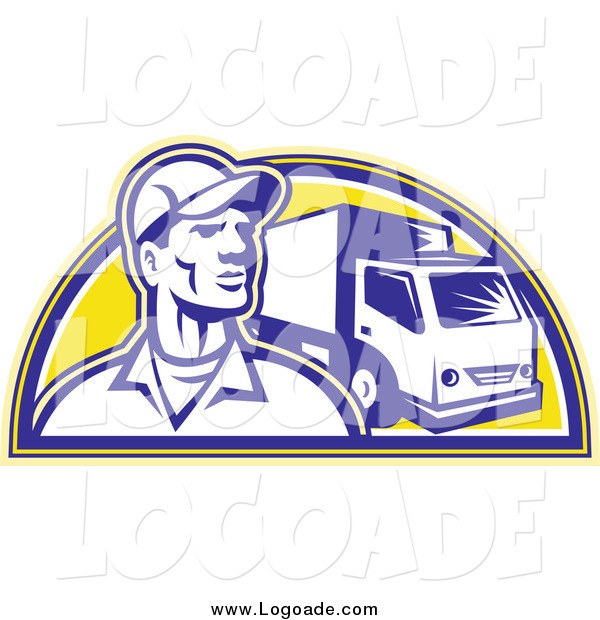 Clipart of a Retro Delivery Man and Truck Logo
